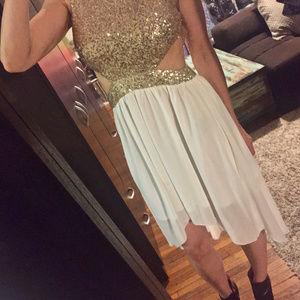 Dresses & Skirts - Gold & White cutout sequin dress. XS